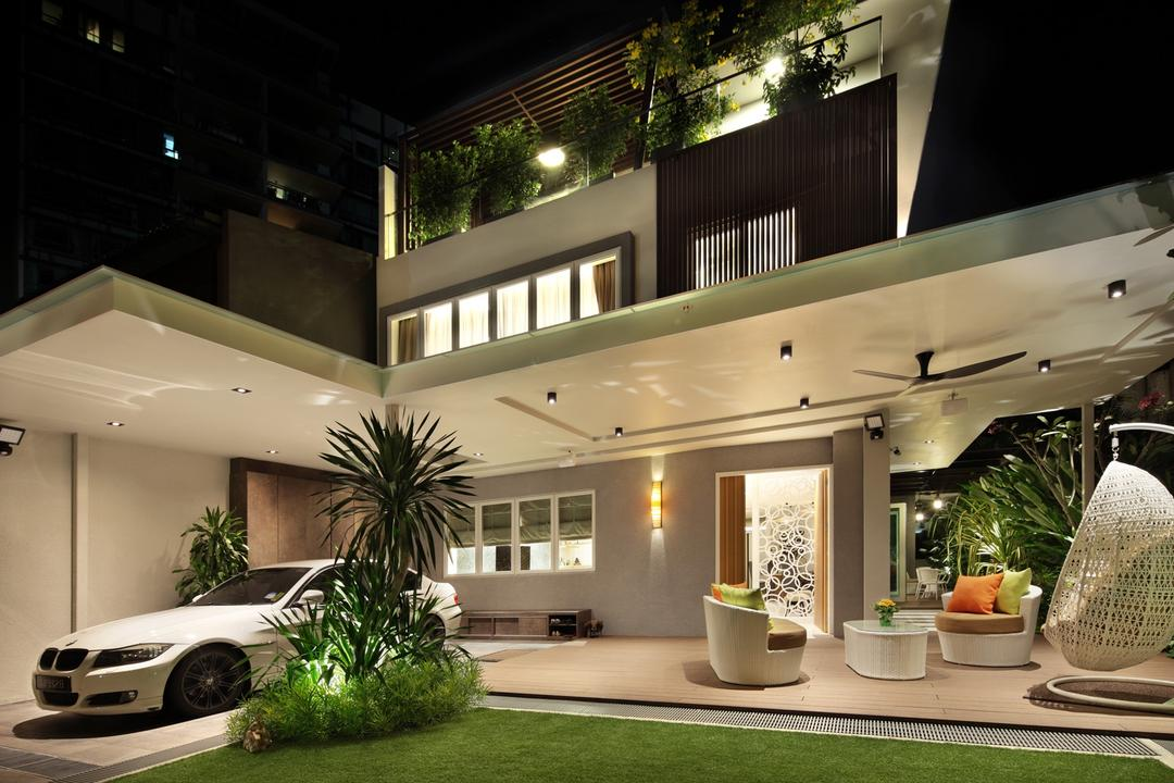 22 Sunbird Road, Space Define Interior, Traditional, Garden, Landed, Hanging Chair, Chair, Table, Wicker, Plants, Wall Lamp, Glass Railing, Railing, Balustrade, Glass Balustrade, Outdoors, Foyer, Porch, Flora, Jar, Plant, Potted Plant, Pottery, Vase, Patio