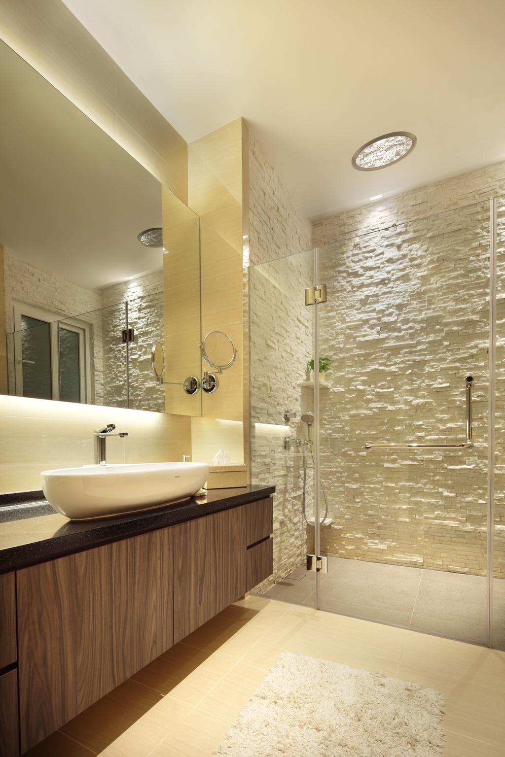 Traditional, Landed, Bathroom, 22 Sunbird Road, Interior Designer, Space Define Interior, Rug, Stone Wall, Stacco Wall, Raw, Glass Cubicle, Mirror, Concealed Lighting, Vessel Sink, Bathroom Counter, Wood Laminate, Wood, Laminate, Indoors, Interior Design, Room