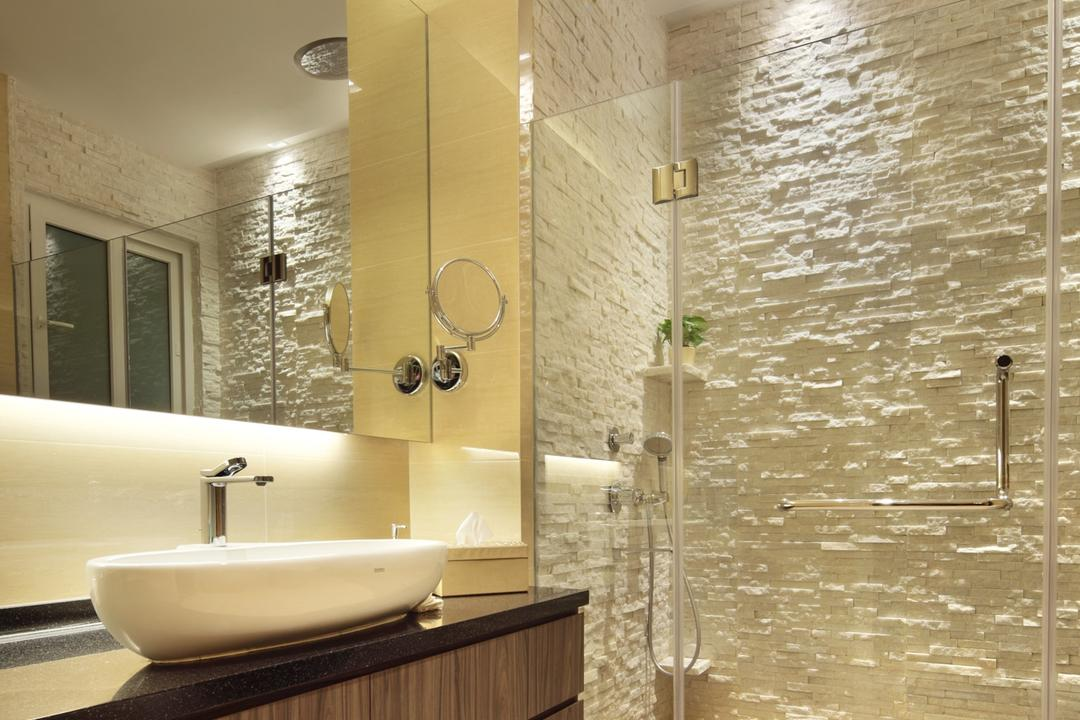 22 Sunbird Road, Space Define Interior, Traditional, Bathroom, Landed, Rug, Stone Wall, Stacco Wall, Raw, Glass Cubicle, Mirror, Concealed Lighting, Vessel Sink, Bathroom Counter, Wood Laminate, Wood, Laminate, Indoors, Interior Design, Room