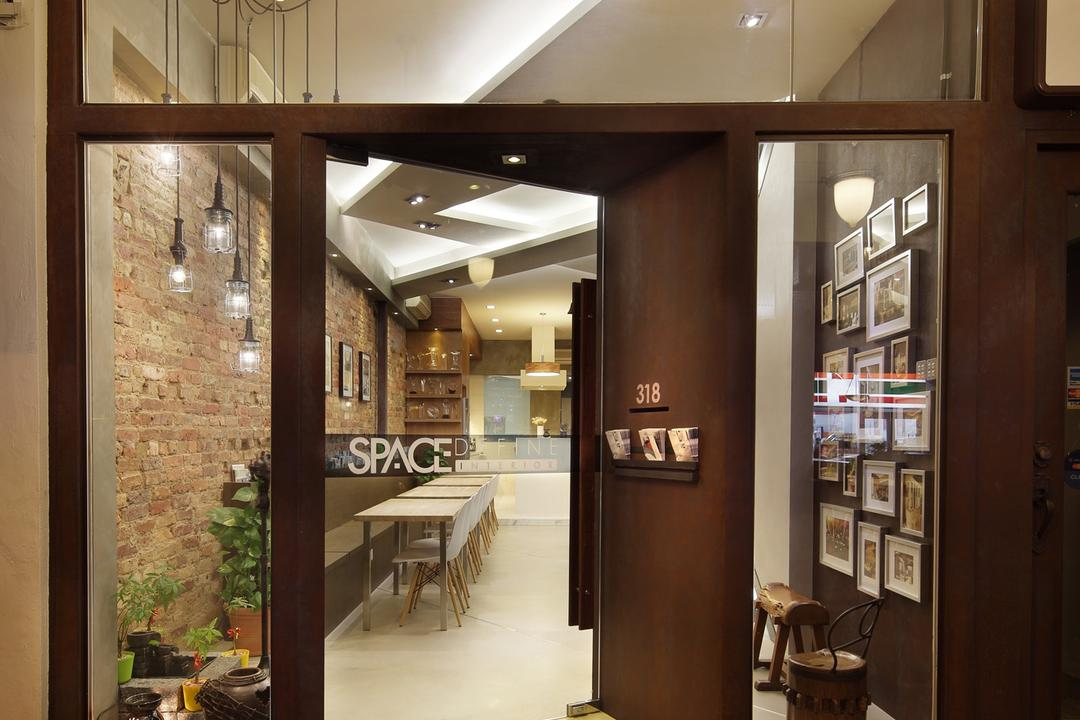 318 Joo Chiat Road, Space Define Interior, Modern, Commercial, Glass Doors, Exterior, Full Length Windows, Hanging Light, Pendant Light, Lighting, Mat, Brick Wall, Raw, Parquet, Tile Tiles, Flora, Jar, Plant, Potted Plant, Pottery, Vase, Dining Table, Furniture, Table, Pantry, Shelf
