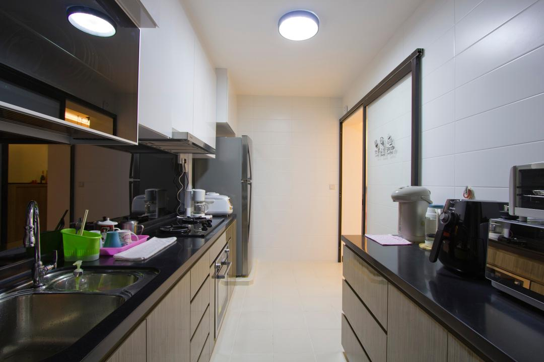 Upper Serangoon Crescent (Block 477), MET Interior, Contemporary, Kitchen, HDB, Black Table Top, Wood Cabinet, Dish Dryer, Sink, Appliance, Electrical Device, Oven, Lighting, Indoors, Interior Design, Room