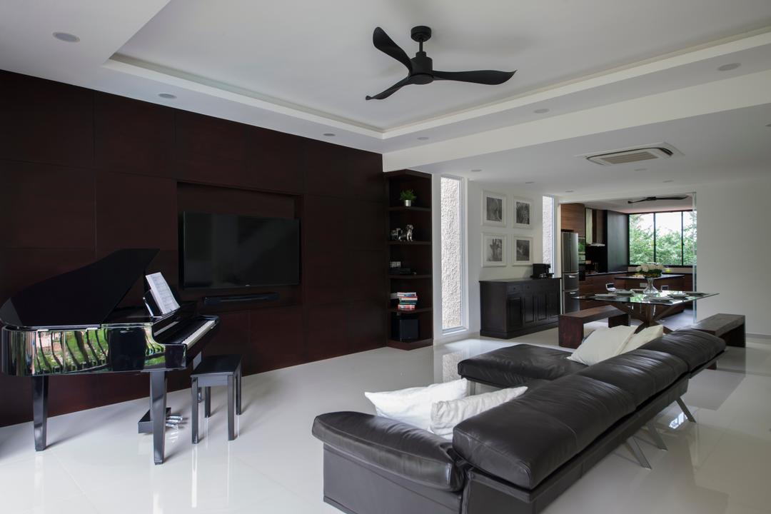 Sommerville Park, Schemacraft, Modern, Living Room, Condo, Ceiling Fan, Black Fan, Brown Tv Console, Piano, False Ceiling, Sofa, Leather Sofa, Brown Leather Sofa, Black Piano, Grand Piano, Living Room Ideal, Minimalist, Haiku Fan, Leisure Activities, Music, Musical Instrument, Blade, Dagger, Knife, Weapon, Couch, Furniture, Indoors, Room