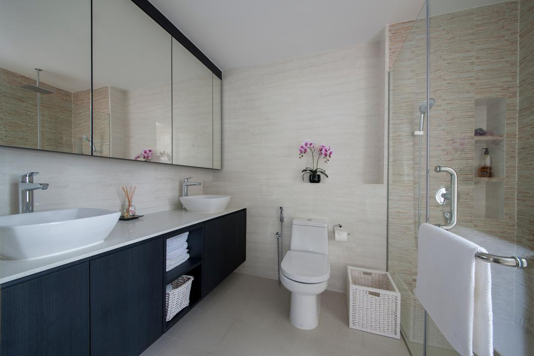 Sommerville Park, Schemacraft, Modern, Bathroom, Condo, Simple Bathroom, , Toilet Bowl, Water Closet, Bathroom Sink, Sink, Bathroom White Sink, White Sink, Laundry Basket, Vanity, Bathroom Vanity, Bathroom Feature Wall, Bathroom Wall, Toilet Accessories, Shower Door, Shower Glass Door, Toilet, Indoors, Interior Design, Room