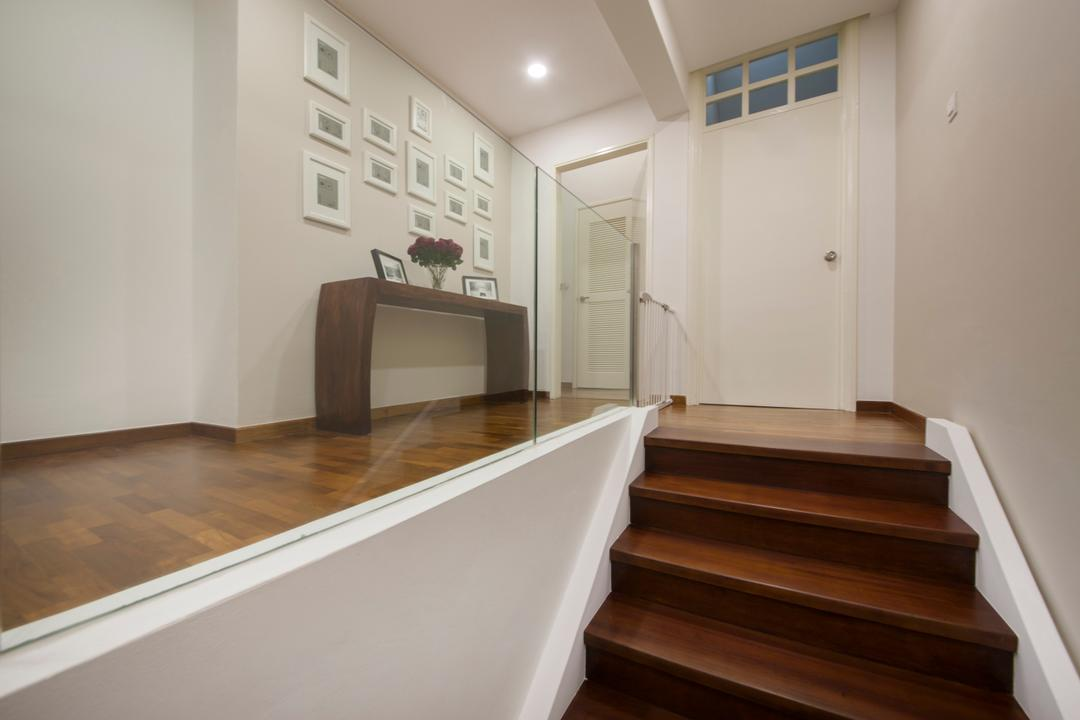 Sommerville Park, Schemacraft, Modern, Condo, Staircase, Stairs, Wooden Staircase, Wooden Stairs, Glass Panels, Glass Railings, Staircase Railing, Parquet, Wood Flooring, Wood Floor, Engineered Wood, White Door, Door, Picture Frames, White Picture Frame, Passageway, Walkway, Banister, Handrail