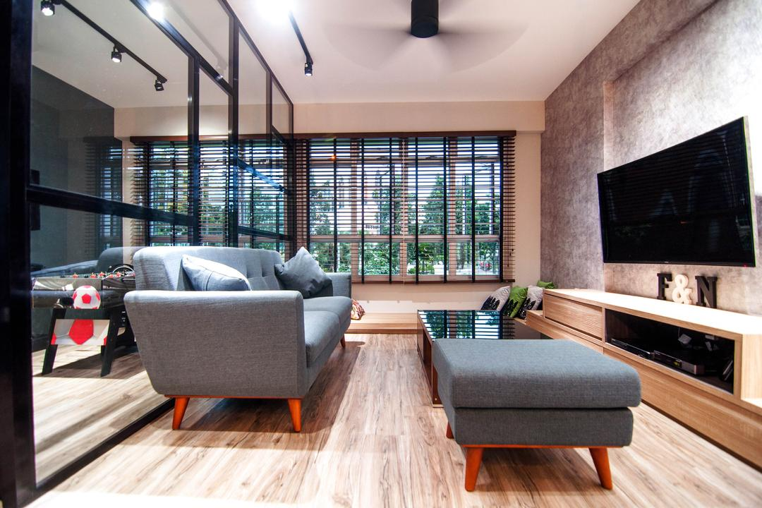 Chai Chee Road (Block 807), IdeasXchange, Industrial, Living Room, HDB, Coffee Table, Loveseat, Pencil Leg Furniture, Ottoman, Tv, Tv Console, Tv Cabinet, Window, Partition, Blinds, Wood Floor, Wooden Flooring, Couch, Furniture, Fireplace, Hearth, Indoors, Interior Design