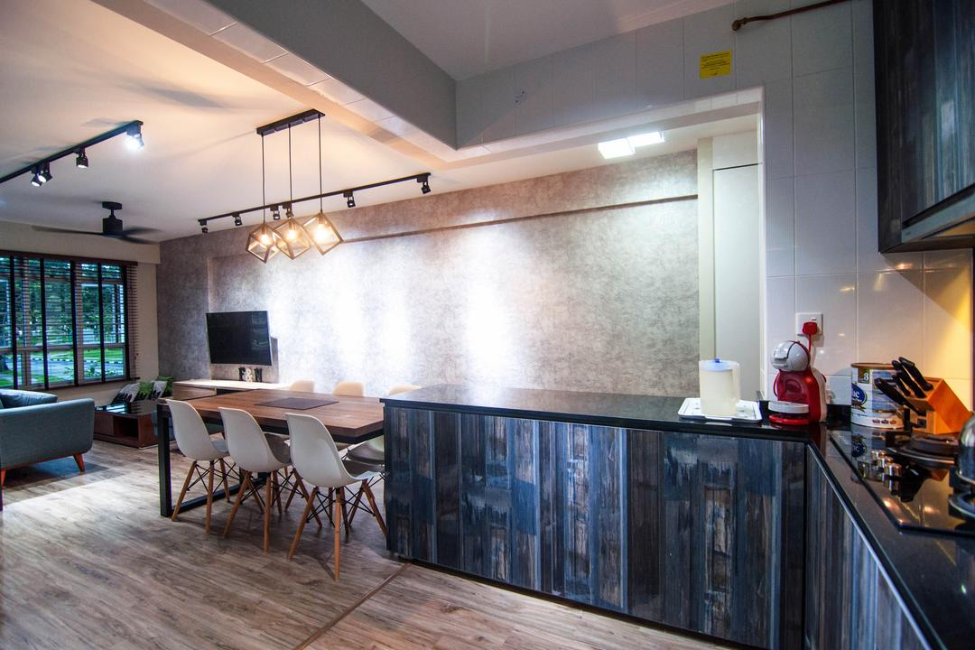 Chai Chee Road (Block 807), IdeasXchange, Industrial, Kitchen, HDB, Kitchen Cabinetry, Kitchen Peninsula, Wood Laminates, Dark Wood, Kitchen Laminates, Kitchen Countertop, Dark Coloured Laminates, Dining Table, Furniture, Table, Indoors, Interior Design, Room, Couch
