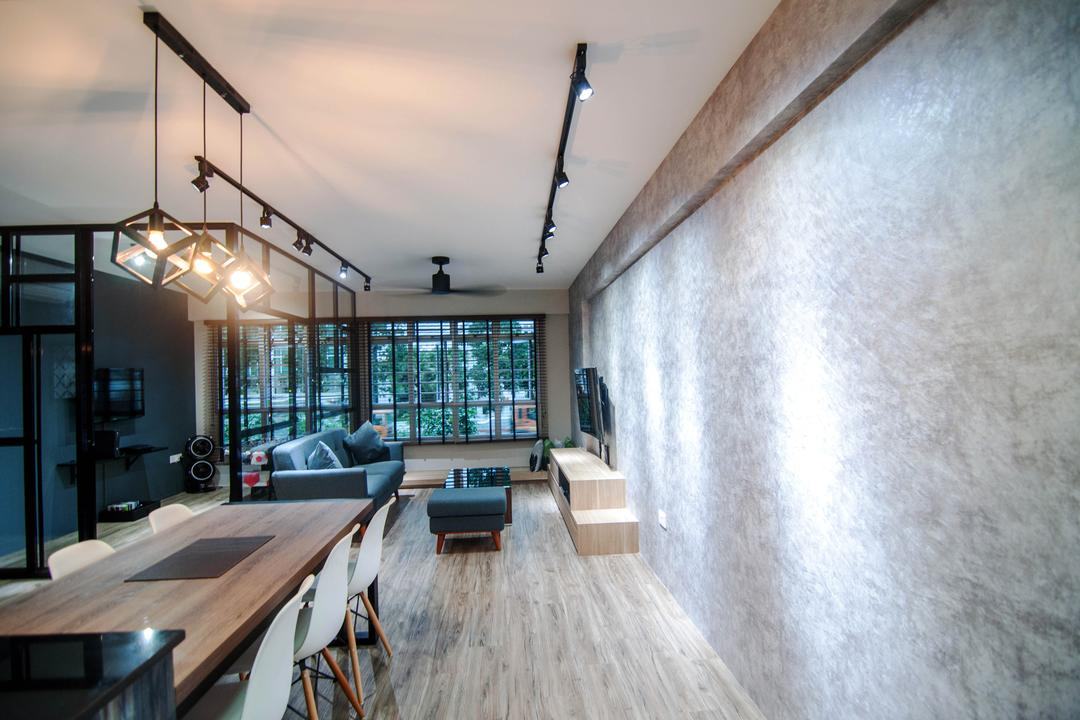 Chai Chee Road (Block 807), IdeasXchange, Industrial, Dining Room, HDB, Wallpaper, Grey Walls, Dining Table, Dining Chairs, Chairs, Track Lights, Track Lightings, Eames Chair, Pendant Lamp, Hanging Lamp, Wood Grain, Plywood, Wood, Window, Hardwood