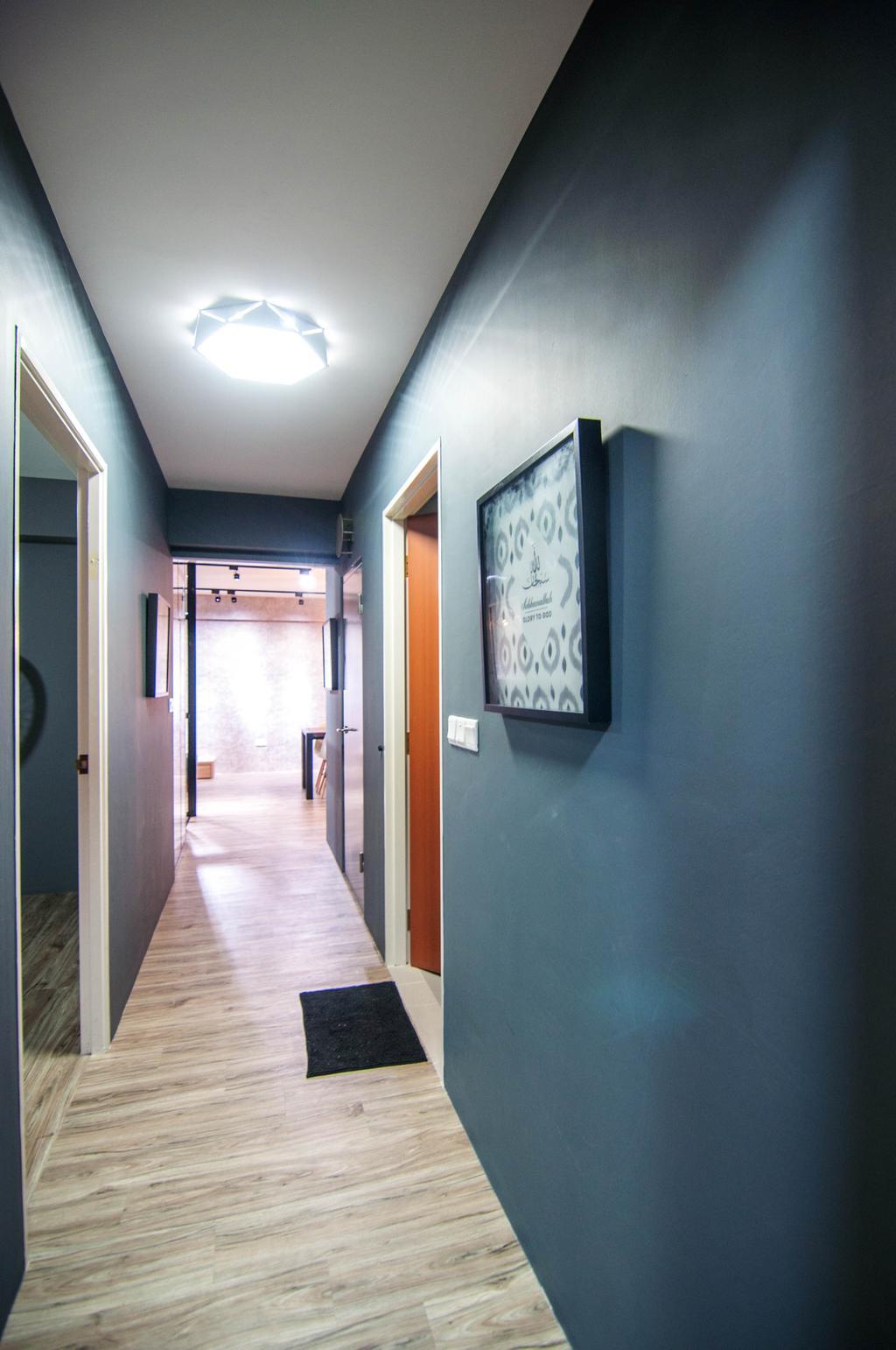 Industrial, HDB, Chai Chee Road (Block 807), Interior Designer, IdeasXchange, Walkway, Hallway, Blue Walls, Dark Blue, Corridor, Door, Sliding Door