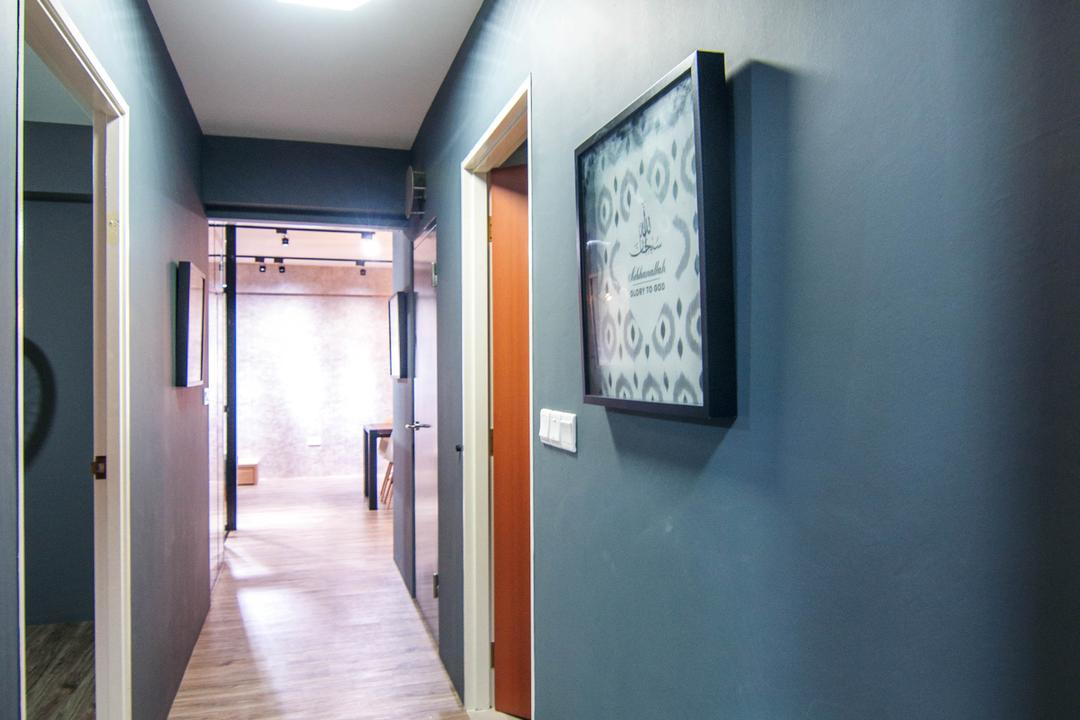 Chai Chee Road (Block 807), IdeasXchange, Industrial, HDB, Walkway, Hallway, Blue Walls, Dark Blue, Corridor, Door, Sliding Door