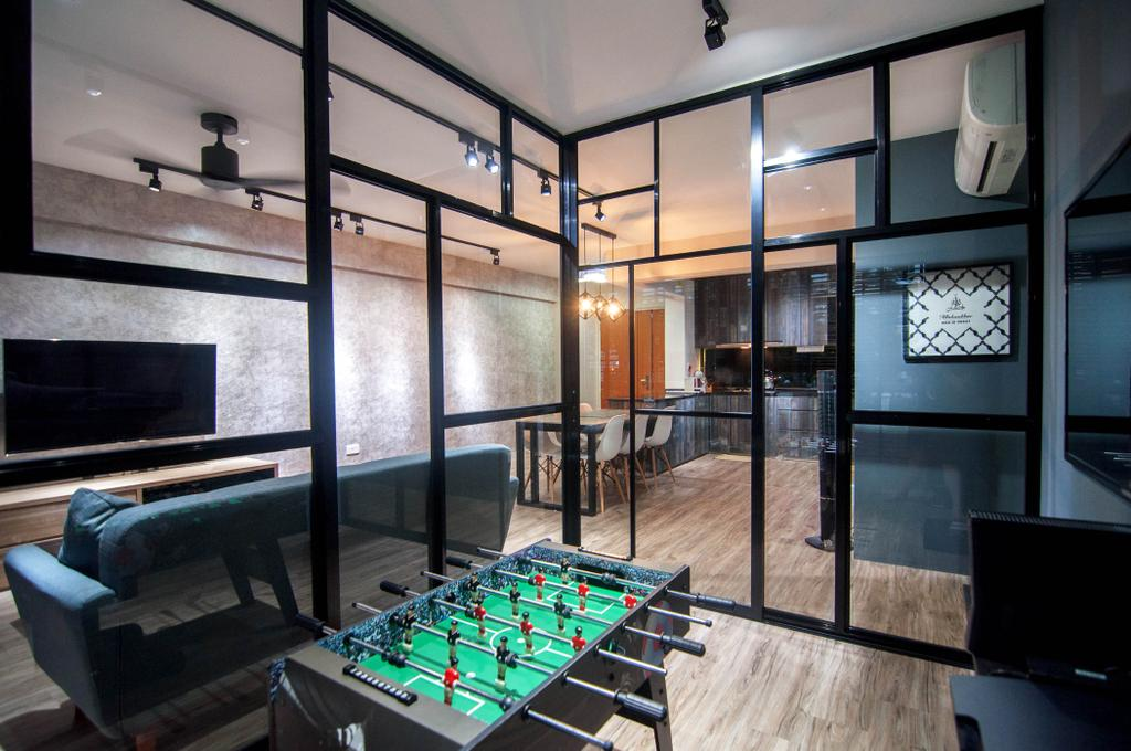 Industrial, HDB, Study, Chai Chee Road (Block 807), Interior Designer, IdeasXchange, Foosball, Foosball Table, Hacked Wall, Hacked Room, Transparent Partition, Partition, Gaming Room, Chair, Furniture, Building, Housing, Indoors, Loft