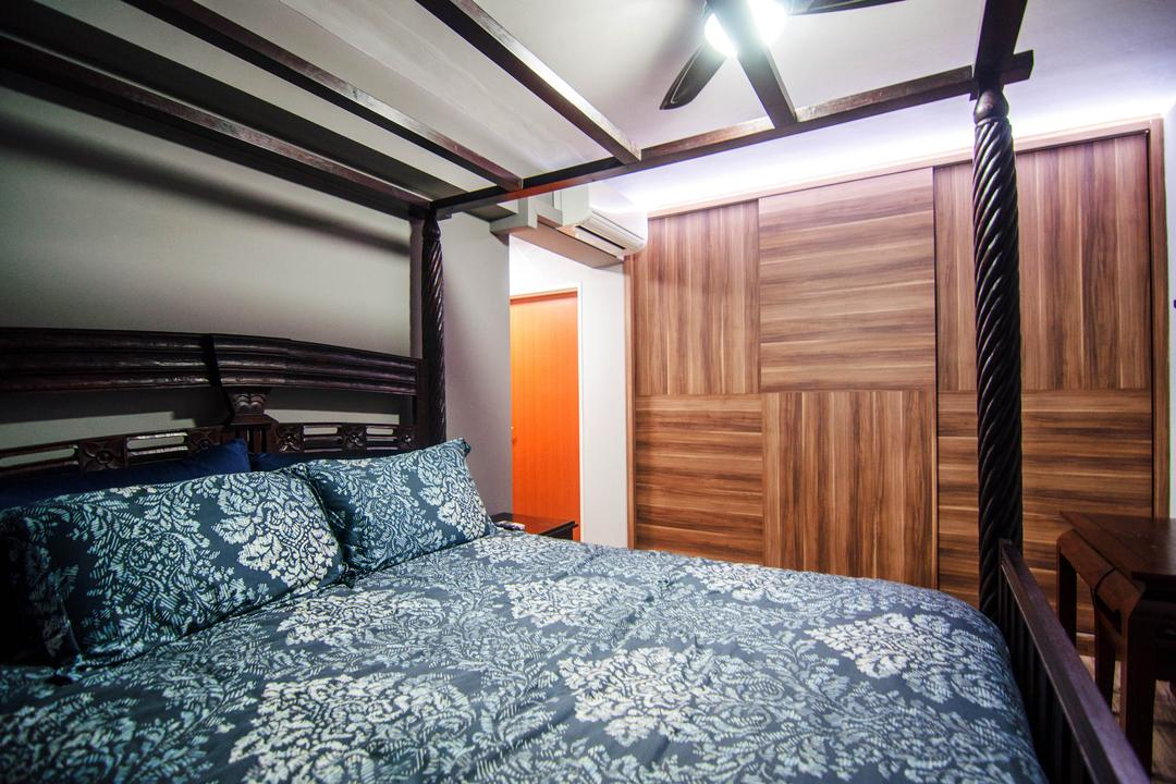 Chai Chee Road (Block 807), IdeasXchange, Industrial, Bedroom, HDB, Bed Frame, Wooden Beams, Beams, Wardrobe, Striped Laminates, Wood Laminates, Patterns, Patterned Bedsheet, Ceiling Fan With Lamp, Bed, Furniture, Bench, Indoors, Interior Design, Room