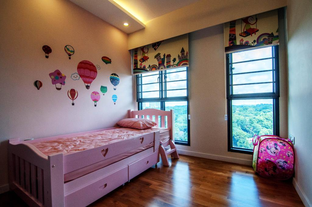 Traditional, HDB, Bedroom, SkyTerrace @ Dawson (Block 91), Interior Designer, IdeasXchange, Kids Room, Kids, Girls Room, Girly, Pink, Pink Bed, Bed With Storage, Princessy, Decal, Wall Decal, Blinds, Jar, Pottery, Vase, Ball, Balloon, Sphere, Indoors, Interior Design, Room, Nursery