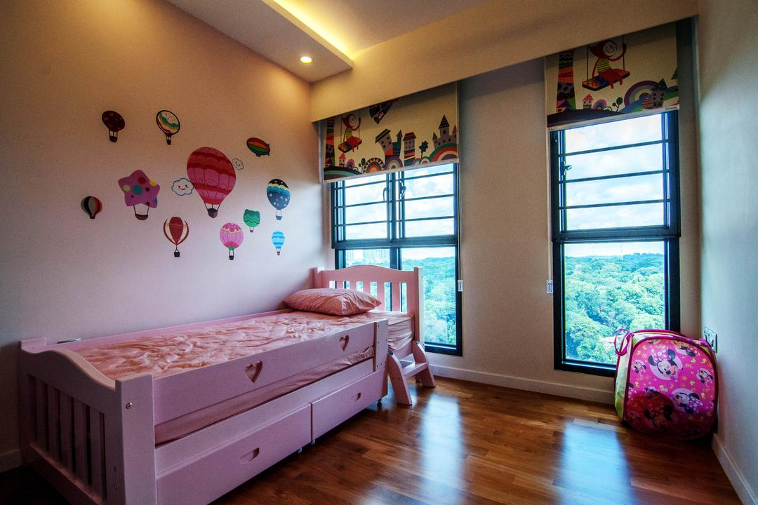 SkyTerrace @ Dawson (Block 91), IdeasXchange, Traditional, Bedroom, HDB, Kids Room, Kids, Girls Room, Girly, Pink, Pink Bed, Bed With Storage, Princessy, Decal, Wall Decal, Blinds, Jar, Pottery, Vase, Ball, Balloon, Sphere, Indoors, Interior Design, Room, Nursery