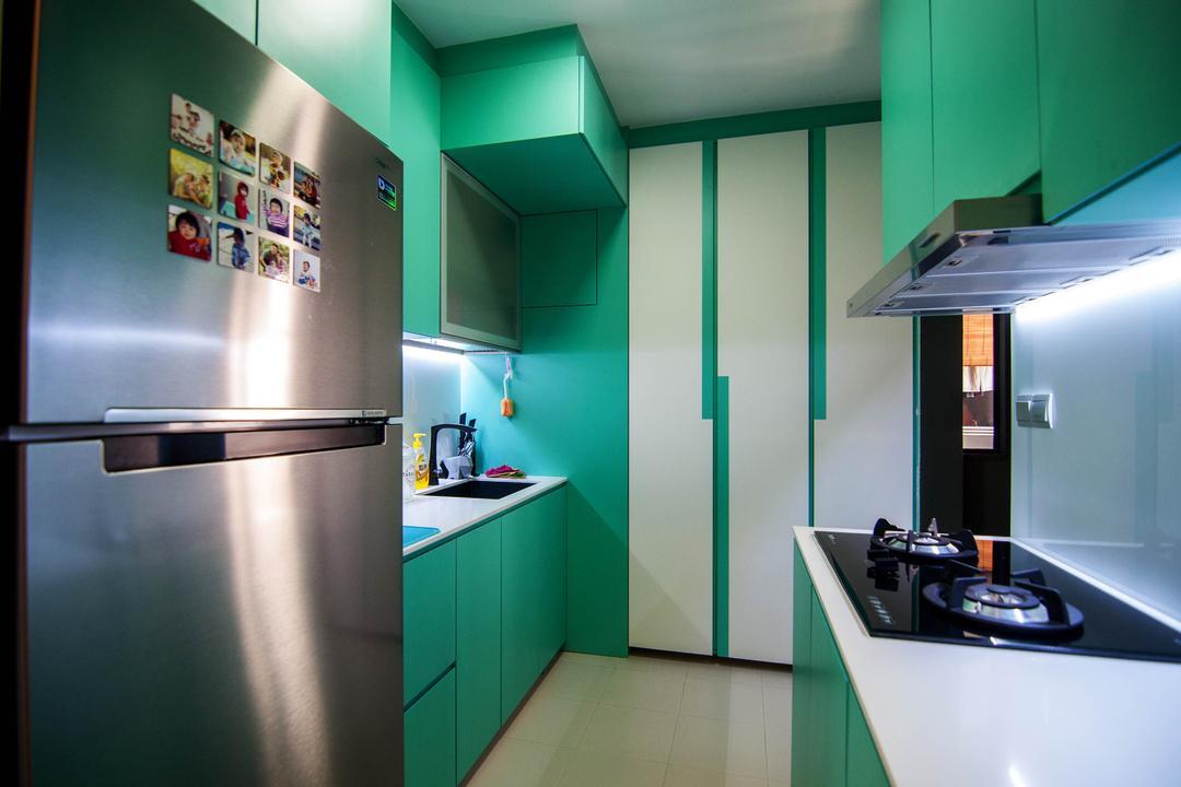 SkyTerrace @ Dawson (Block 91), IdeasXchange, Traditional, Kitchen, HDB, Green, Green Furniture, Kitchen Cabinet, Cabinetry, Kitchen Countertop, White Countertop, Exhaust Hood, Stove, Refrigerator