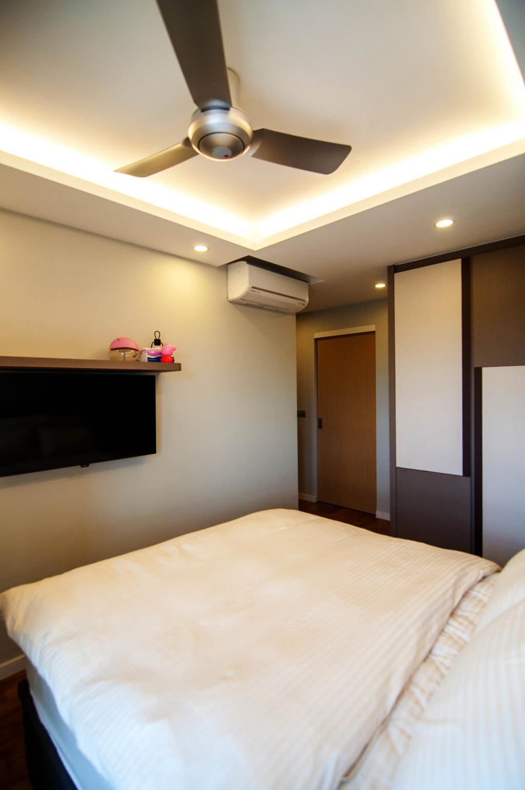 Traditional, HDB, Bedroom, SkyTerrace @ Dawson (Block 91), Interior Designer, IdeasXchange, Cove Lighting, Ceiling Fan, Tv Mount, Aircon