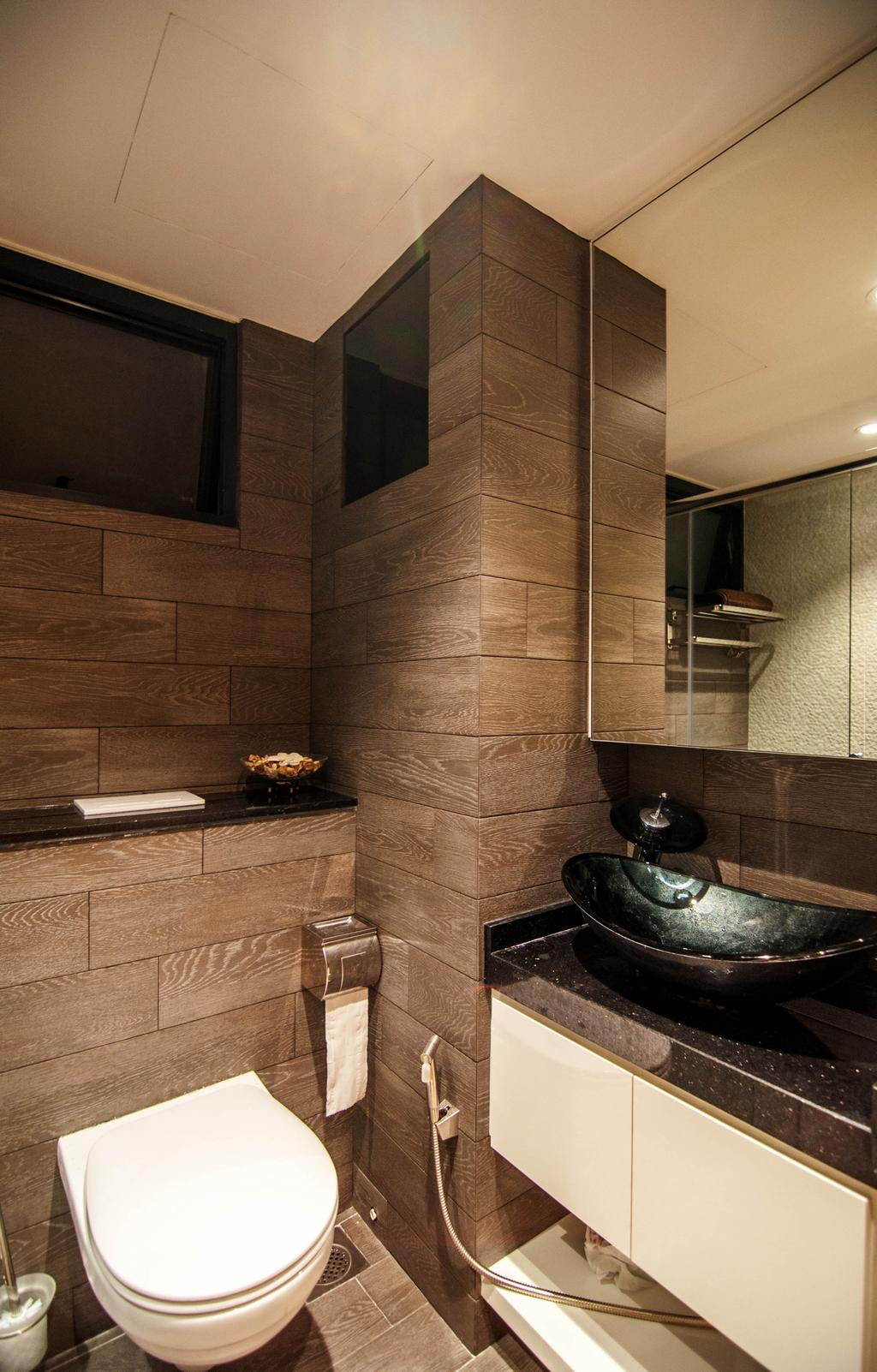 Modern, HDB, Bathroom, SkyTerrace @ Dawson (Block 93), Interior Designer, IdeasXchange, Bathroom Vanity, Mirror, Sink, Bathroom Sink, Vessel Sink, Bathroom Tiles
