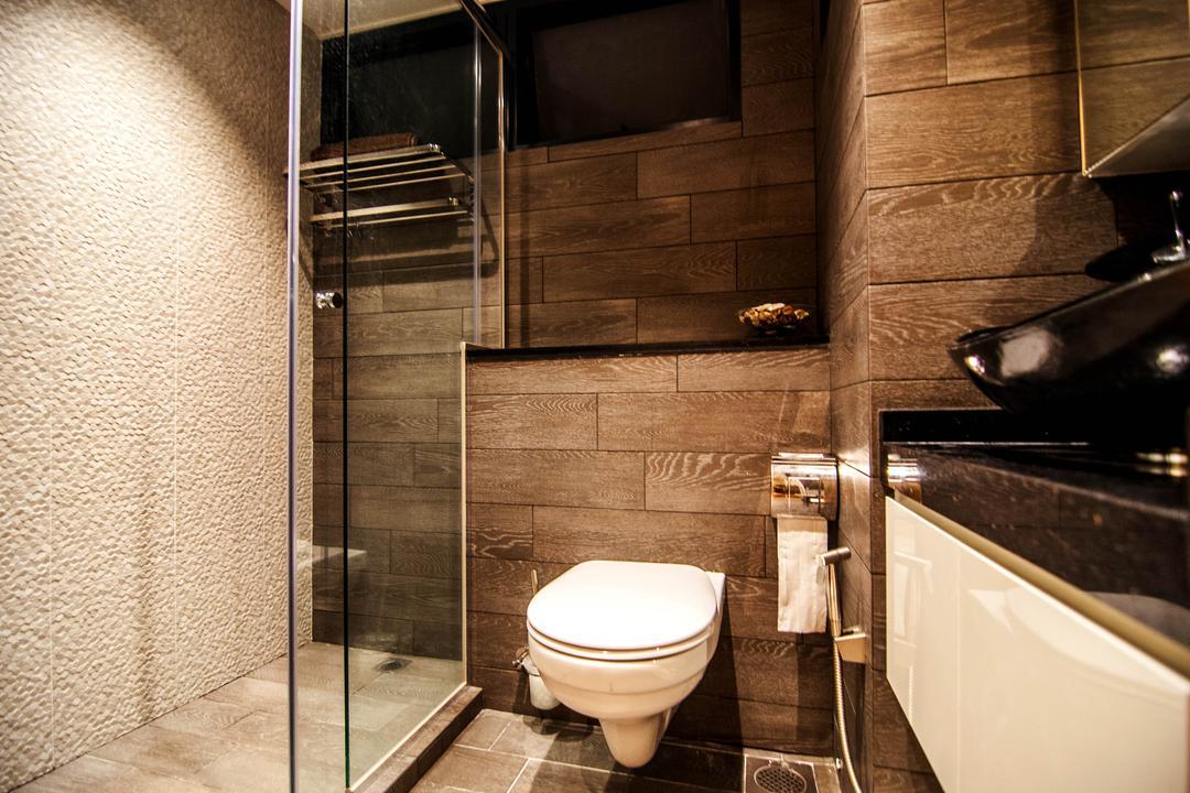 SkyTerrace @ Dawson (Block 93), IdeasXchange, Modern, Bathroom, HDB, Bathroom Tiles, Wall Tiles, Towel Rack, Shower Screen, Toilet Bowl, Toilet, Indoors, Interior Design, Room
