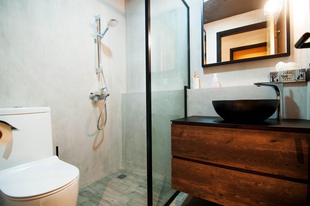 Industrial, Condo, Bathroom, Kovan, Interior Designer, IdeasXchange, Bathroom Sink, Sink, Bathroom Vanity, Wood Grain, Bathroom Cabinet, Mirror, Shower Screen, Shower Head, Toilet Bowl, Water Closet, Indoors, Interior Design, Room