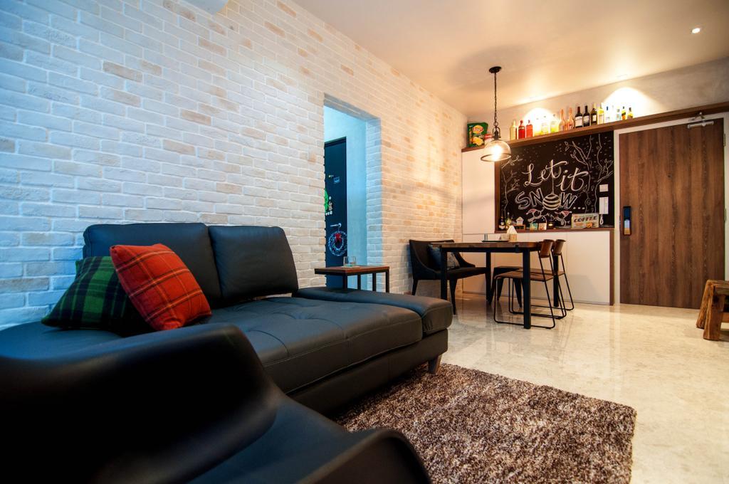 Industrial, Condo, Living Room, Kovan, Interior Designer, IdeasXchange, Brick Walls, Sofa, Black Sofa, Dark Sofa, Cushions, Carpet, Blackboard, Couch, Furniture, Chair, Dining Room, Indoors, Interior Design, Room