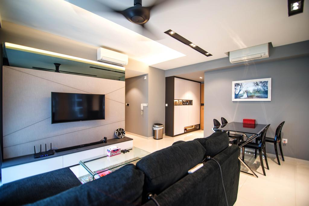 Modern, Condo, Living Room, Twin Waterfalls, Interior Designer, IdeasXchange, Feature Wall, Tv, Tv Mount, Tv Console, Tv Cabinet, False Ceiling, Aircon, Painting, Dining Table, Appliance, Electrical Device, Microwave, Oven, Indoors, Room