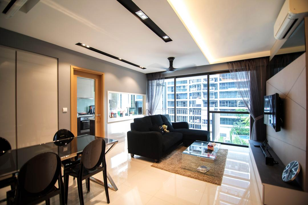 Twin Waterfalls, IdeasXchange, Modern, Living Room, Condo, Sofa, Black Sofa, Dark Sofa, Coffee Table, Glass Coffee Table, Carpet, Curtains, Sheer Curtains, Cove Lighting, Aircon, Feature Wall, Tv, Tv Console, Dining Table, Dining Chairs, Dark Furniture, Airy, Windows, Furniture, Table, Couch