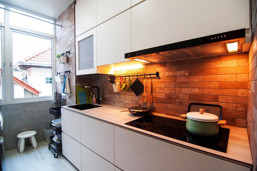 Kovan, IdeasXchange, Industrial, Kitchen, Condo, Kitchen Countertop, Kitchen Cabinetry, Cabinet, White Cabinets, Warm Lights, Under Cabinet Lights, Stove, Kitchen Rack, Utensils Rack, Sink, Brick Walls, Plants, Plant Hanger, Toilet