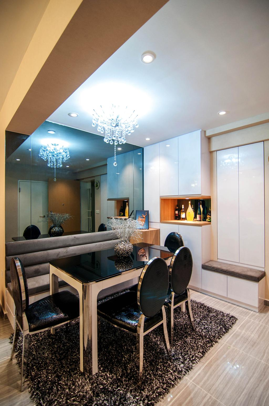 Modern, HDB, Dining Room, SkyTerrace @ Dawson (Block 93), Interior Designer, IdeasXchange, Dining Table, Dining Chairs, Carpet, Mirror, Huge Mirror, Chandelier, Crystal Lights, Cabinet, Cabinetry, Shoe Cabinet, Bench, Seating Area, Indoors, Interior Design, Room