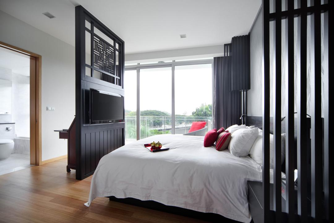 Aalto, Fuse Concept, Modern, Bedroom, Condo, Partition, Black Partition, Bed, White Bed, Bright, Bright Room, Black Wood, Furniture, Indoors, Interior Design, Room