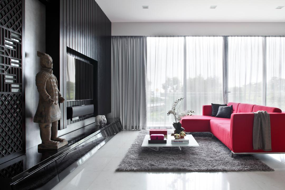Aalto, Fuse Concept, Modern, Living Room, Condo, Grey, Grey Tones, Grey Colour, Sofa, Red Sofa, L Shaped Sofa, Coffee Table, Carpet, Curtains, Sheer Curtains, Monochromatic, Feature Wall, Tv Console, Statue, Black Wall, Chic, Indoors, Room, Couch, Furniture
