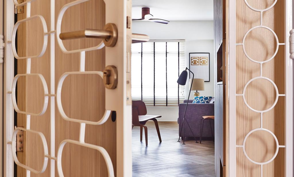 Scandinavian, HDB, Living Room, Fernvale Street, Interior Designer, Fuse Concept, Door, Entrance, Door Gate, Door Gates Design, Door Grille, Gate, Vintage Gate, Chair, Furniture