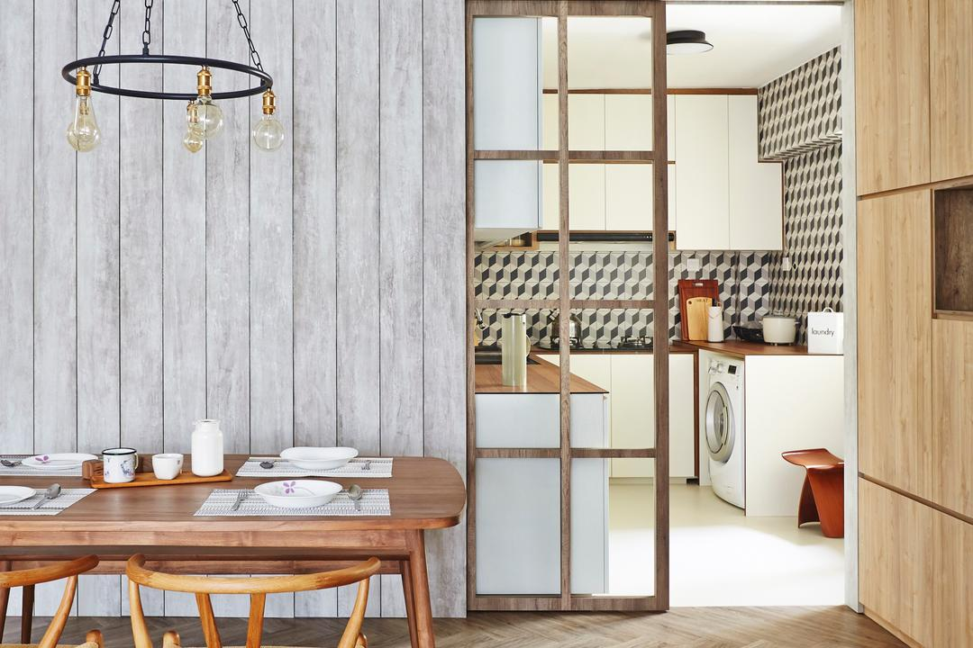 Fernvale Street, Fuse Concept, Scandinavian, Dining Room, HDB, Hanging Lamp Chain, Lamp Chain, Dining Table, Dining Chairs, Herringbone, Door, Kitchen Door, Furniture, Table, Chair, Bench