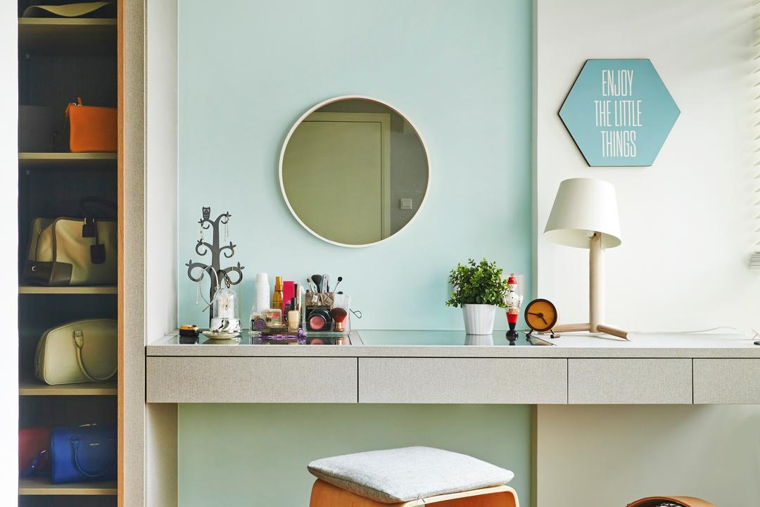 Fernvale Street, Fuse Concept, Scandinavian, Bedroom, HDB, Dressing Table, Mirror, Round Mirror, Stools, Cushioned Stool, Table Lamp, Fan, Portable Fan, Baby Blue, Sky Blue, Shelf, Lamp, Indoors, Interior Design, Dining Room, Room