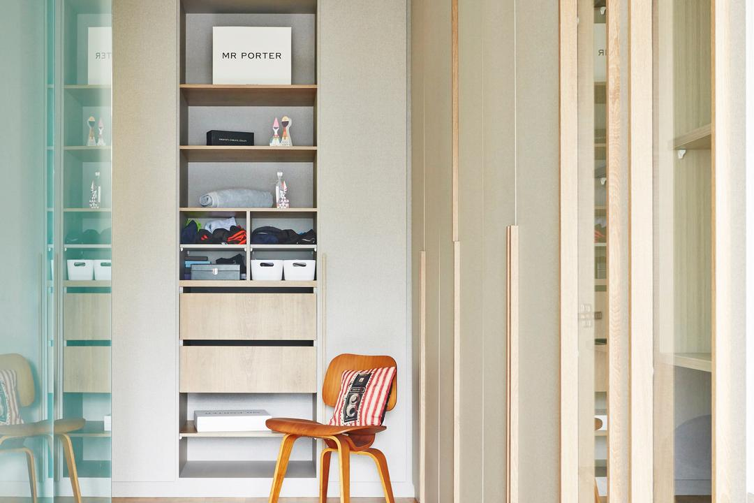 Fernvale Street, Fuse Concept, Scandinavian, Bedroom, HDB, Shelves, Shelving, Cabinet, Cabinetry, Recessed Shelves, Accessories Storage, Accessories, Storage Ideas, Chair, Shelf, Furniture, Plywood, Wood