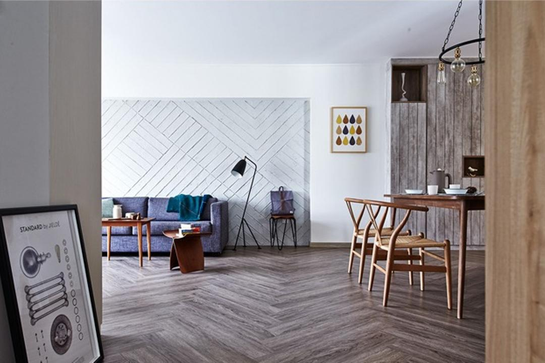 Fernvale Street, Fuse Concept, Scandinavian, Living Room, HDB, Herringbone Floor, Painting, Home Decor, Wall Decor, Chairs, Dining Chairs, Wood, Sofa, Throw, Stand Lamp, Dining Table, Furniture, Table