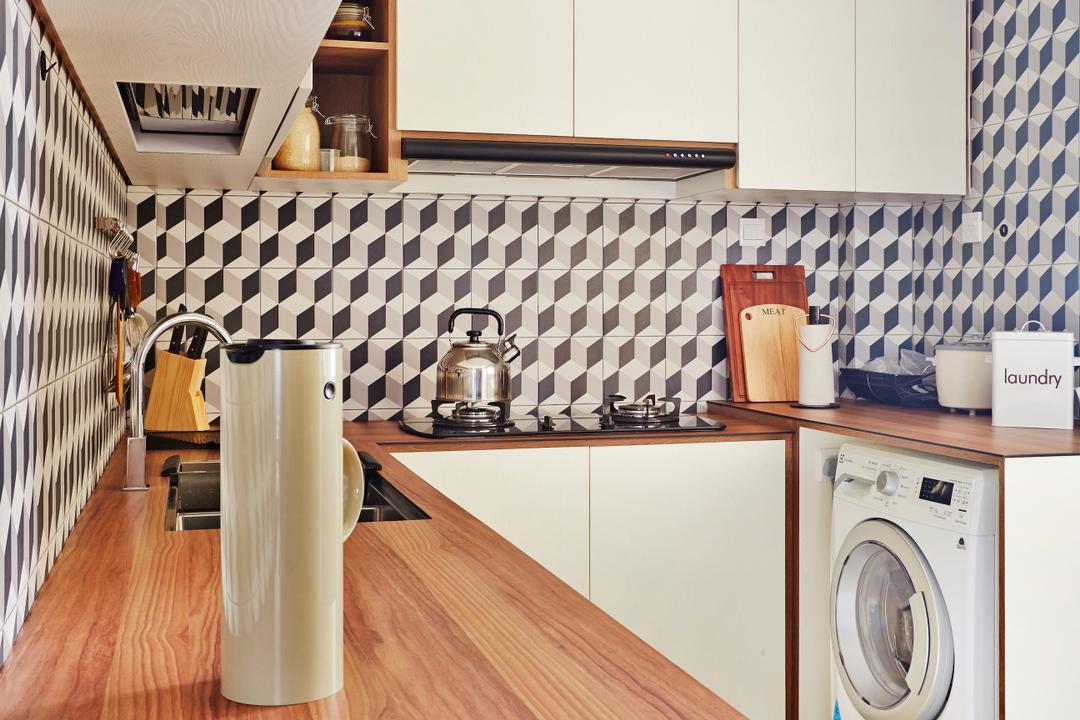 Fernvale Street, Fuse Concept, Scandinavian, Kitchen, HDB, Kitchen Tiles, Cubes, Patterned Tiles, Kitchen Laminate, Wood Laminate, Light Wood Laminate, Kitchen Cabinetry, Cabinet, White Cabinet