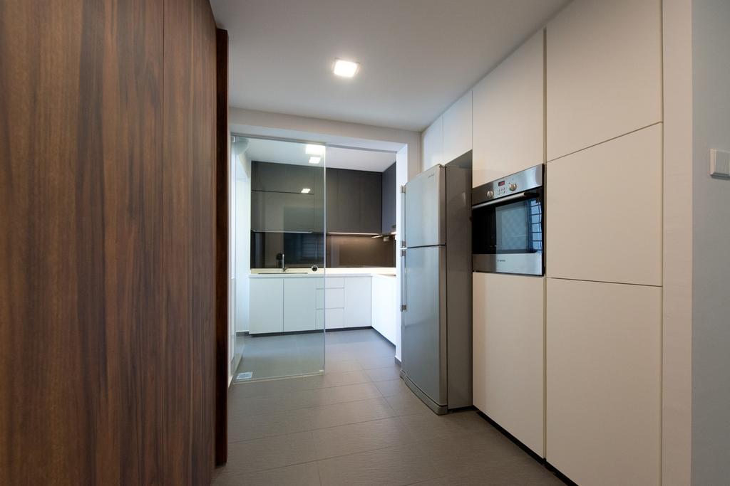Minimalistic, HDB, Kitchen, Bedok South, Interior Designer, Dyel Design, Cabinet, Glass Doors, Storage, White, Kitchen Counter, Wood, Laminate, Wood Laminate, Corridor