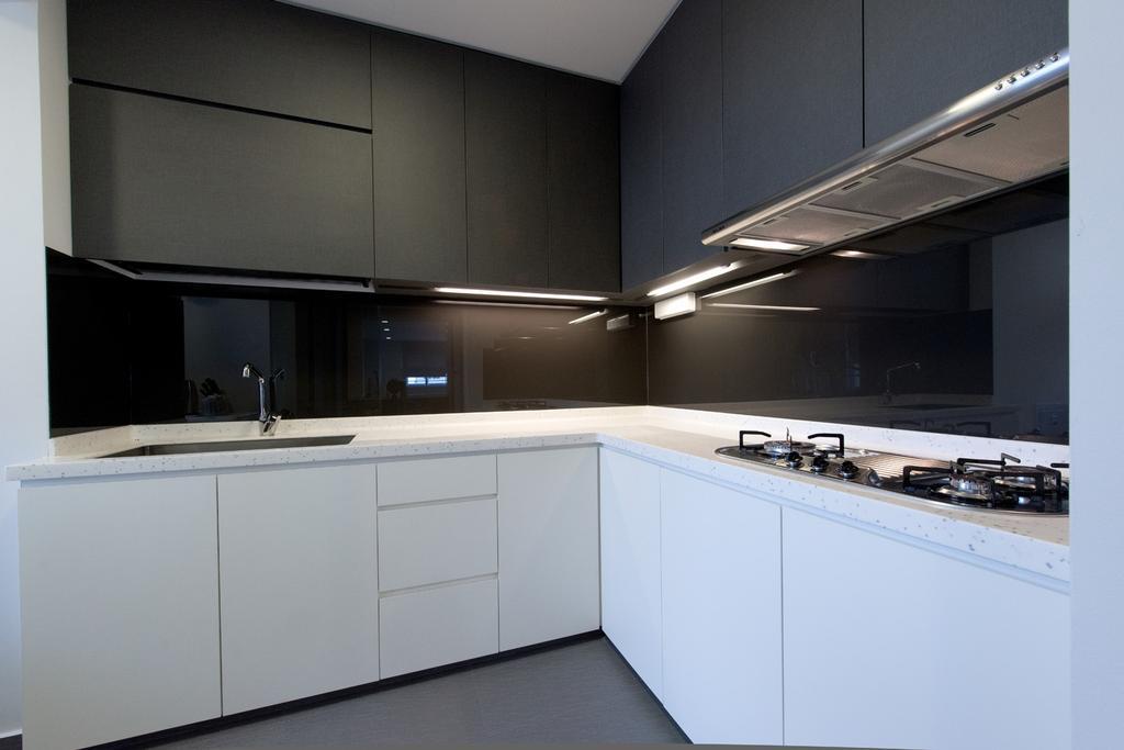 Minimalistic, HDB, Kitchen, Bedok South, Interior Designer, Dyel Design, Cabinet, Kitchen Counter, Glass Wall, Exhaust Hood, Black, White, Monochrome, Furniture, Sideboard, Indoors, Interior Design, Room