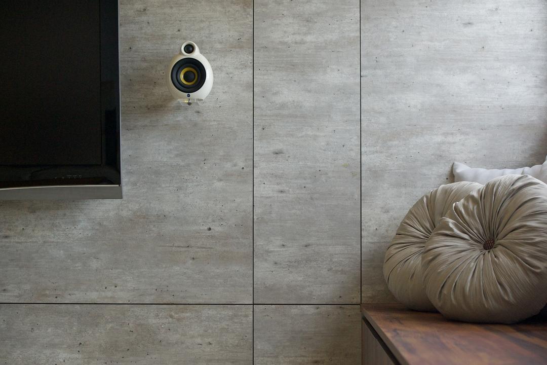 Bedok South, Dyel Design, Minimalistic, HDB, Mounted Speakers, Cushions, Wall, Hardwood, Wood