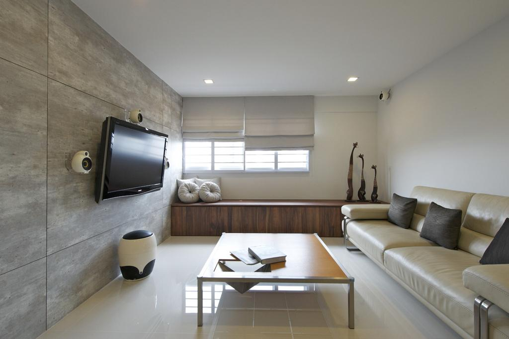 Minimalistic, HDB, Living Room, Bedok South, Interior Designer, Dyel Design, Sofa, Chair, Wood Laminate, Wood, Laminate, Window Seat, Coffee Table, Table, Blinds, Sculpture, Cushions, Mounted Speakers, Stools, Couch, Furniture, Indoors, Interior Design, Dining Table, Electronics, Monitor, Screen, Tv, Television
