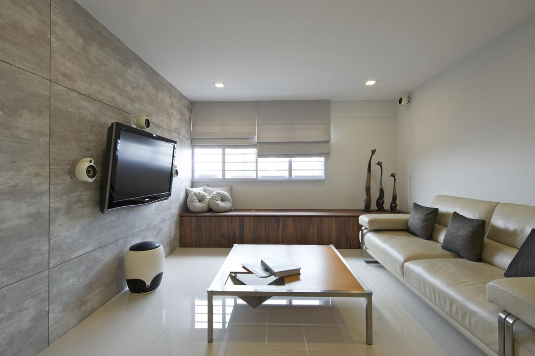 Bedok South, Dyel Design, Minimalistic, Living Room, HDB, Sofa, Chair, Wood Laminate, Wood, Laminate, Window Seat, Coffee Table, Table, Blinds, Sculpture, Cushions, Mounted Speakers, Stools, Couch, Furniture, Indoors, Interior Design, Dining Table, Electronics, Monitor, Screen, Tv, Television