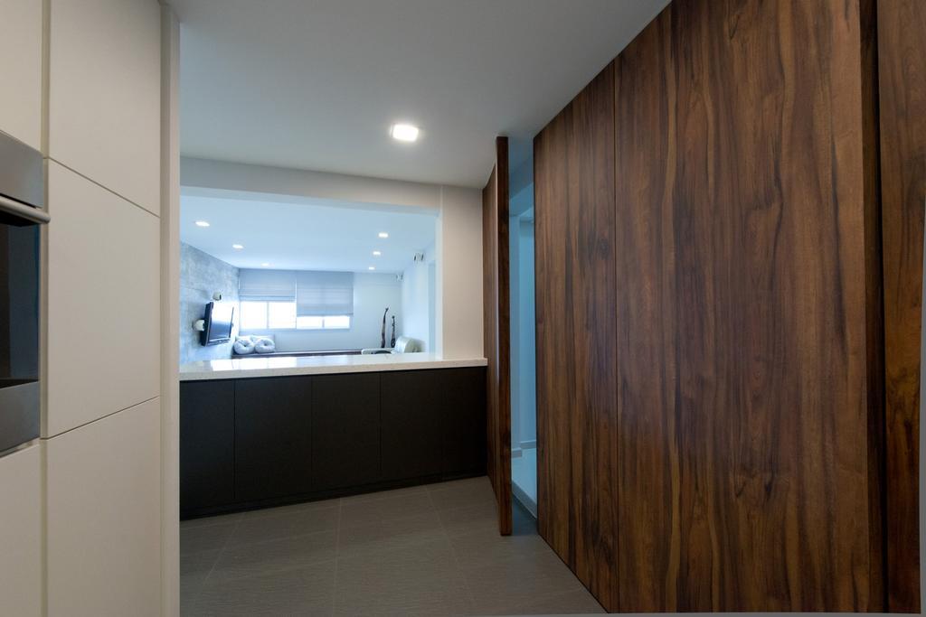 Minimalistic, HDB, Kitchen, Bedok South, Interior Designer, Dyel Design, Wood Laminate, Wood, Laminate, Doors, Kitchen Counter, Bathroom, Indoors, Interior Design, Room