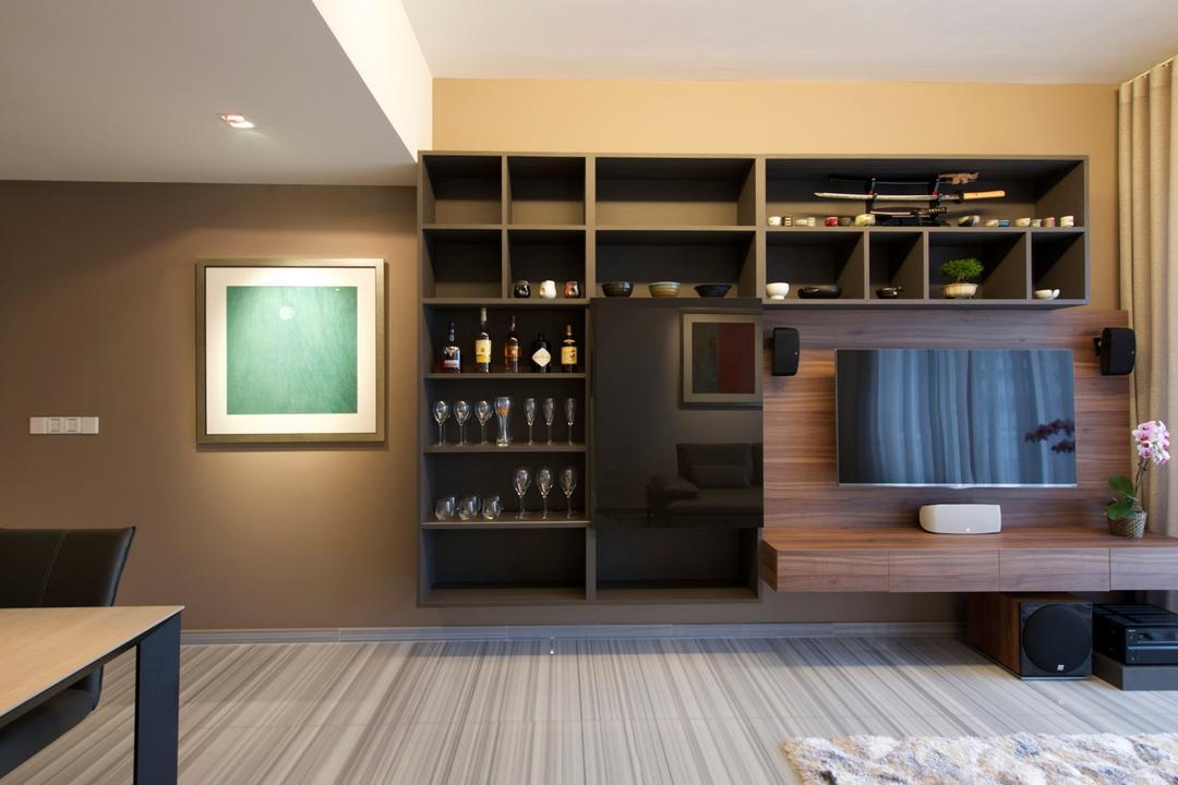 Cube 8, Dyel Design, Modern, Living Room, Condo, Display Unit, Cubbyholes, Tv Console, Wood Laminate, Wood, Laminate, Stipes, Rug, Brown, Warm Tones, Mounted Speakers, Indoors, Interior Design