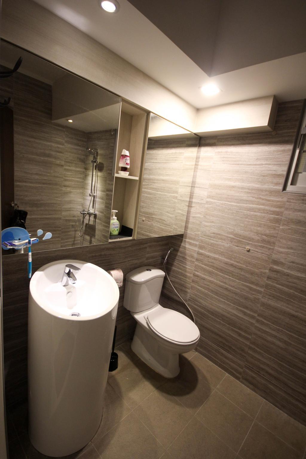 Transitional, HDB, Bathroom, Upper Serangoon Crescent, Interior Designer, The Two Big Guys, Brown Tiles, Water Closet, Standing Sink, Round Sink, Basin, Standing Basin, Toilet, Indoors, Interior Design, Room