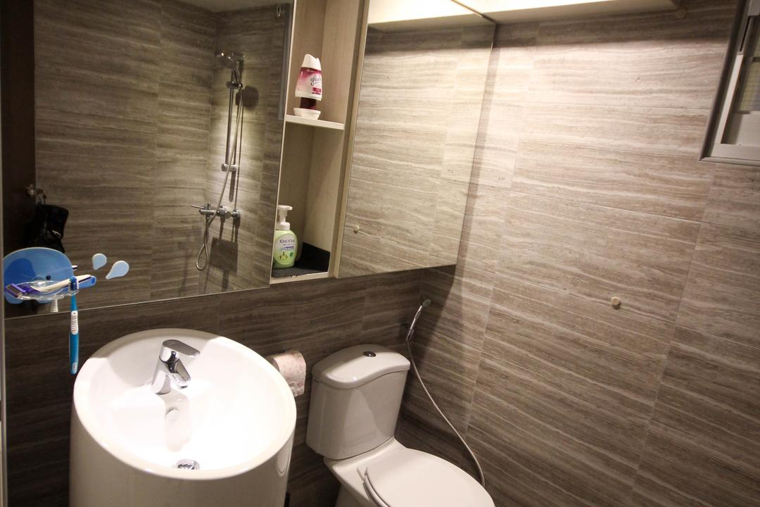 Upper Serangoon Crescent, The Two Big Guys, Transitional, Bathroom, HDB, Brown Tiles, Water Closet, Standing Sink, Round Sink, Basin, Standing Basin, Toilet, Indoors, Interior Design, Room