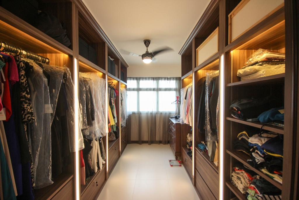 Transitional, HDB, Bedroom, Upper Serangoon Crescent, Interior Designer, The Two Big Guys, Walk In Wardrobe, Side By Side, Parallel Facing, Doorless, Open Concept, Dresser, Closet, Wardrobe, Cupboard