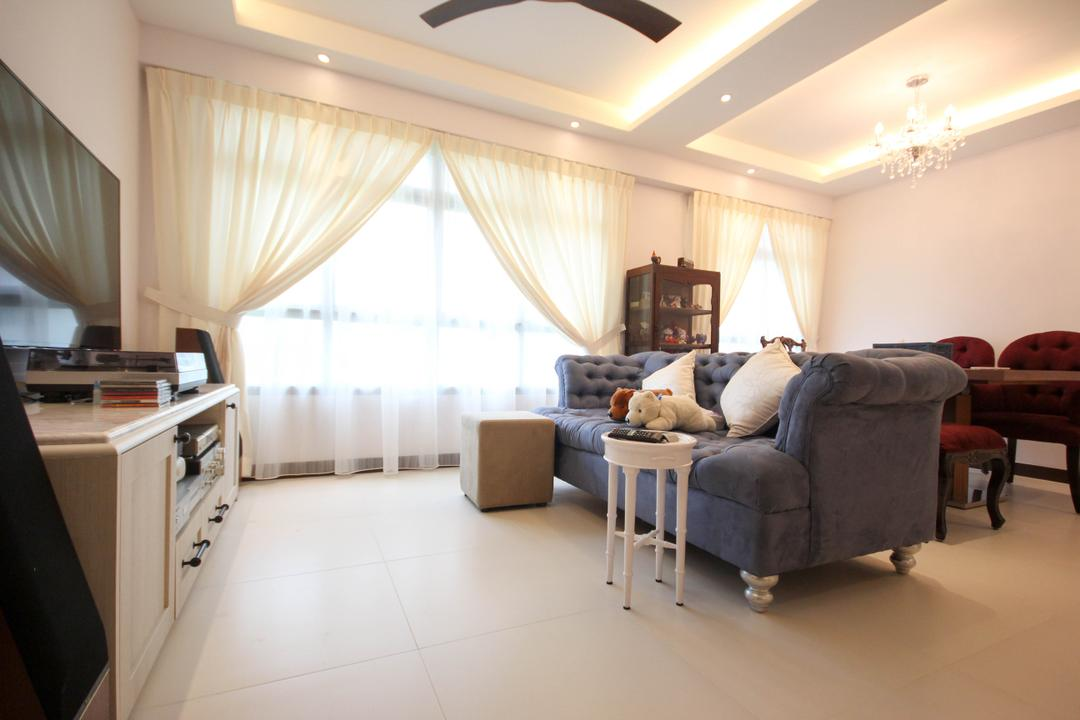 Upper Serangoon Crescent, The Two Big Guys, Transitional, Living Room, HDB, Chesterfield, Round Sofa Legs, Day Curtains, Ottoman, French Inspired, French Furniture, Dusty Blue, Fabric Chesterfield, Cottage, Couch, Furniture