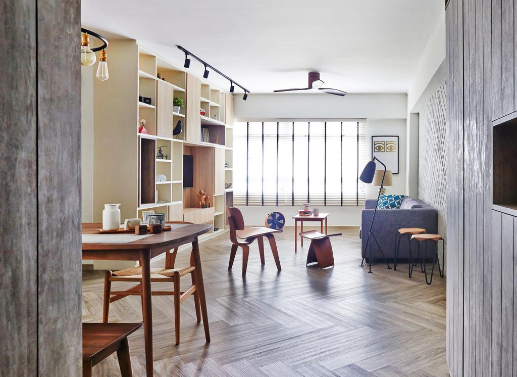 Scandinavian, HDB, Living Room, Fernvale Street, Interior Designer, Fuse Concept, Cabinet, Cabinetry, Herringbone, Herringbone Floor, Herringbone Style, Wood, Woody, Laminates, Dining Table, Furniture, Table, Dining Room, Indoors, Interior Design, Room, Couch