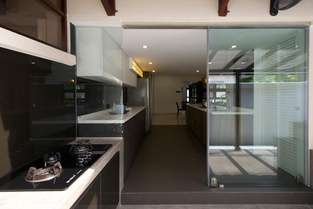 Dunearn, Dyel Design, Modern, Kitchen, Landed, Glass Sliding Doors, Glass Wall, Full Length Windows, Kitchen Counter, Outdoors, Linear, Indoors, Interior Design, HDB, Building, Housing, Loft, Lighting