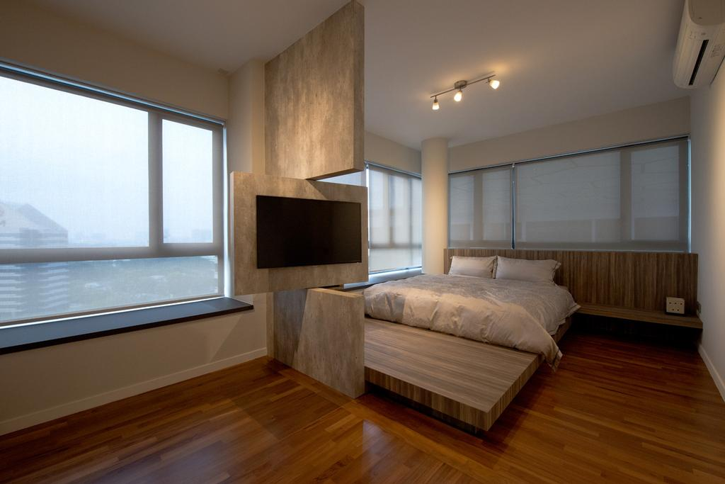 Modern, Condo, Bedroom, The Interlace, Interior Designer, Dyel Design, Parquet, Platform, Platform Bed, Blinds, Swivel Wall, Swivel, Track Lighting, Rustic, Wood Laminate, Wood, Laminate, Window Seat, Cement Wall, Minimalistic, Fireplace, Hearth, Indoors, Interior Design, Room