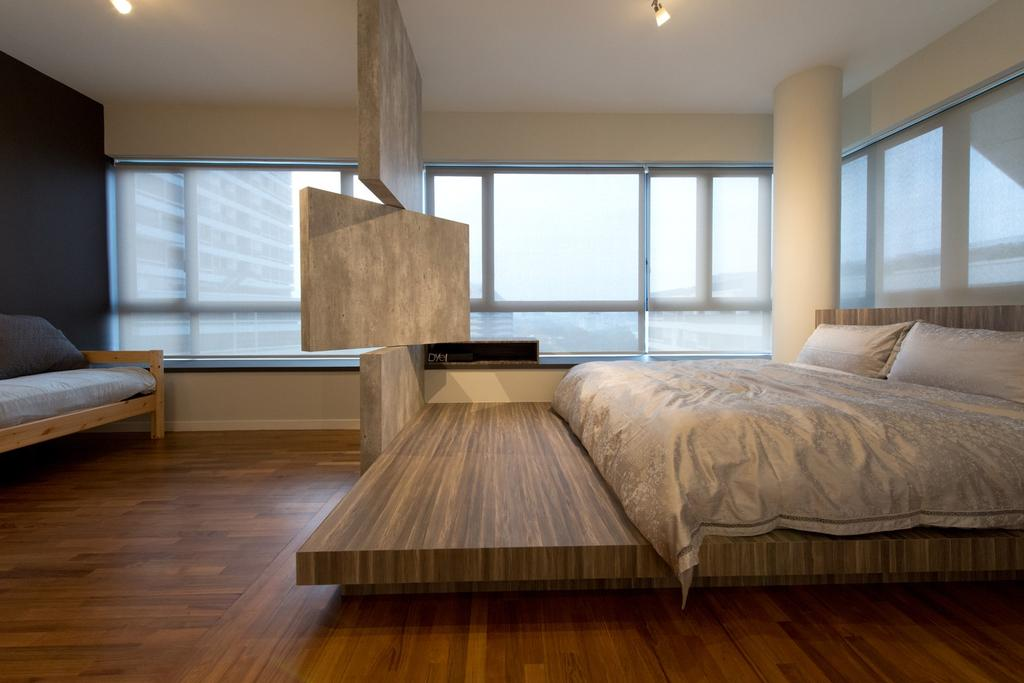 Modern, Condo, Bedroom, The Interlace, Interior Designer, Dyel Design, Swivel, Swivel Wall, Blinds, Window Seat, Platform Bed, Platform, Parquet, Wood Laminate, Wood, Laminate, Sofa, Cement Wall, Columns, Hardwood, Plywood, Molding, Furniture, Studio Couch